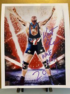 Kurt Angle Signed Autograph 8x10 WWE WWf TNA Impact AEW Wrestling HOF 1996 Gold