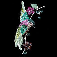 Flower Swallow Bird Brooch Pin Multicolor Austrian Crystal Enamel Gold Tone Gift