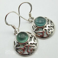 """GREEN APATITE CELTIC Earrings 1.2"""", 925 Pure Silver Jewelry CHRISTMAS DAY"""