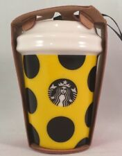 Starbucks Ornament 2015  Citron Dots Yellow with Black Dots New