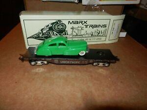MARX #7301  UP Flat Car w/Green Sedan, New Production, OB, 8 Wheel