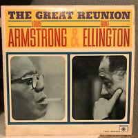 "LOUIS ARMSTRONG - DUKE ELLINGTON - The Great Reunion - 12"" Vinyl Record LP - VG+"