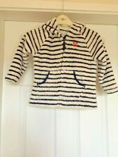 Girls Next Cream Blue Striped Fluffy Hooded Zip Up Casual Jacket 4-5 Years B92