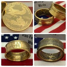 1 Oz US GOLD Coin Ring. One Ounce Liberty 50 Dollar Coin You Choose Size Eagle