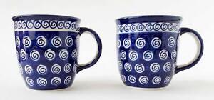 Zaklady Polish Pottery Blue Swirls on White Dots 10 oz Mugs A174-A Set of 2 Used