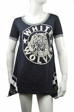 WE THE FREE NWT WOMENS BLACK GRAPHIC WHITE WOLVES TOP BLOUSE SIZE M MSRP $98.00