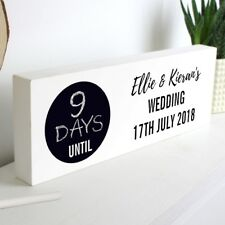 Personalised Rustic Chalk Countdown Wooden Block Sign Wedding Baby Holiday Hen