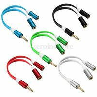 New 3.5mm Mic Headphone Splitter Jack Male to 2 Dual Female Audio Cable Y Lead