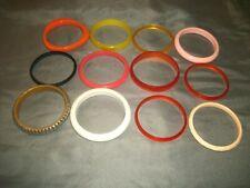 Set of 12 Women's Bangle Bracelets Multi-Color Plastic Plus 1 Metal Multi-Widths