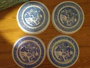 4 Piece Blue Willow STOVE RANGE BURNER COVERS Round