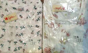 Ladies Nightie Short Sleeve Size 12 14 16 18 20 22 White+Flowers or Blue+Flowers