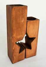 Set of 2 Handmade Star Shaped Wooden Tea Light Holders Rustic Walnut colour