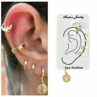 5PCS/Set Womens Girl Ear Stud Gold Crystal Punk Small Hoop Earrings Jewelry Gift