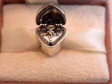 AUTHENTIC PANDORA CHARM 2-TONE GIFT FROM THE HEART W/14K #791247CZ HINGED BOX