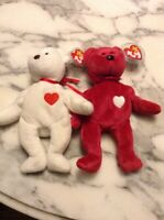 Ty Beanie Babies Valentino and ValentinaW TAGS