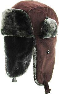 Corduroy Soft Fur Aviator Trapper Hat Winter Cap Ski Warm Cap