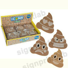 4 ASSORTED 'ICONS' SHAPED POOP ERASER- FUNNY-IDEAL GIFT-FAVOURS-SCHOOL KIT