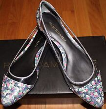 $225 REBECCA MINKOFF CLEAR VINYL/  MULTI-FLORAL PRINT LEATHER FLAT SHOES SZ 10M