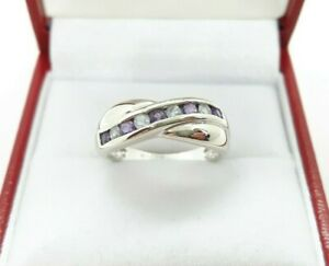 9ct White Gold 0.36ct Natural Aquamarine and Amethyst Ring