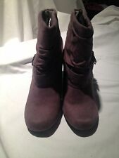 Grey Suede cuffed Bootie with cute strap and silver buckle accents Size 8