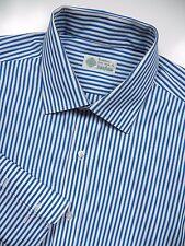 LUIGI BORRELLI MENS 17 XL 35 FRENCH CUFF DRESS SHIRT WHITE BLUE STRIPE LUX ITALY