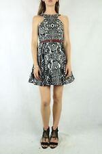 COOPER ST Black White Print Belted Dress Size 8