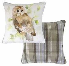 FILLED REVERSIBLE OWL TARTAN EVANS LICHFIELD GREEN CREAM COTTON CUSHION 17""