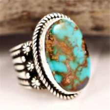 Antique Silver Natural Turquoise Anniversary Engagement Jewelry Ring Size 7
