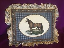 3D Raised Horse Fabric Picture Relief Wall Art With Ruffles Vintage 17x13