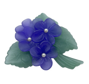 """J7C Vintage 1983 Avon """"Sweet Violet"""" Purple & Forest Green Frosted Brooch Pin"""