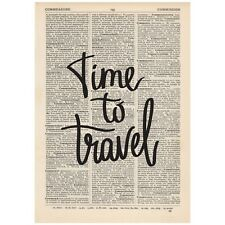 Time To Travel Dictionary Print OOAK, Art, Inspirational Quote