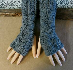 Handmade Cabled Fingerless Arm Warmers, Warm Winter Gloves