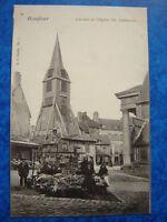 HONFLEUR  :  Le Marché - Clocher de Sainte-Catherine.