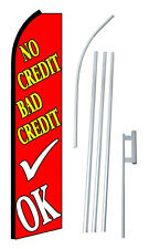 Complete 15' No Credit Bad Credit OK Swooper Feather Flutter Banner Sign Flag