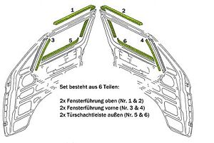 VW T3 Türschachtdichtung  Fensterschachtdichtung 6 tlg. Satz für beide Türen