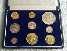 1961 Gold 1&2 Rand South Africa Gold Silver 9 Coins Long Proof Set