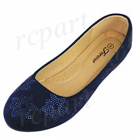 New women's shoes ballet flats ballerina casual work navy blue