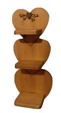Vintage Decorative Wood Heart Shape Shelf. 3 Tiers & Peg Wall Hanging Home Decor