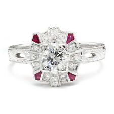 Round Diamond Filigree Engagement Ring with Rubies 18K White Gold .76ctw