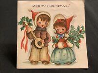 "#3095🌟Vintage 40s Children's ""Merry Christmas!"" Carolers Girl Muff Bonnet Card"
