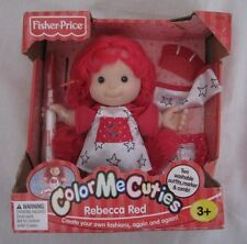 Nib Fisher Price Color Me Cuties Rebecca Red Doll Create Your Own Fashions