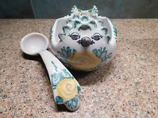 VINTAGE BJORN WIINBLAD BIRD BOWL WITH LADLE DANMARK POTTERY 1981