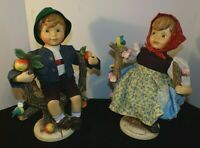Vintage 2 Large 13 Inch M.J. Hummel Apple Tree Figurines 1 Boy And 1 Girl