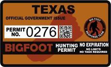 "4"" Texas Tx Bigfoot Hunter Hunting Permit Sticker Sasquatch Vinyl Decal"