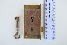 Original antique furniture door handle lock with key inset bookcase lock NM2
