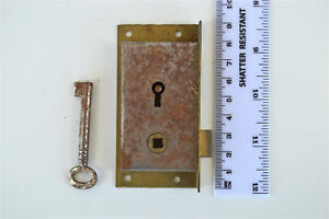 Original antique furniture door handle lock with key inset bookcase lock NM2