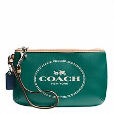 NEW COACH Horse and Carriage Leather Medium Wristlet Silver / Lagoon NWT F51788