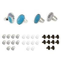 10 pcs Crown Oval Bezel Adjustable Blank Ring Base Settings Jewelry Findings