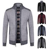 Mens Knitted Full Zip Cardigan Jumper Fleece Lined Winter Warm Chunky Sweater