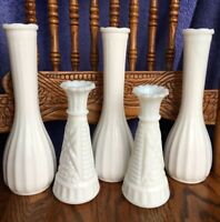 LOT OF 5 VINTAGE WHITE MILK GLASS BUD VASES